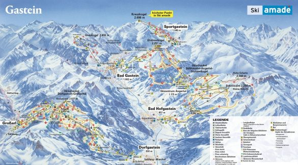 Gastein ski mapa