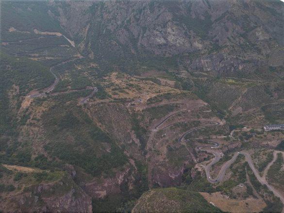 výhľad z lanovky Wings of Tatev, Arménsko